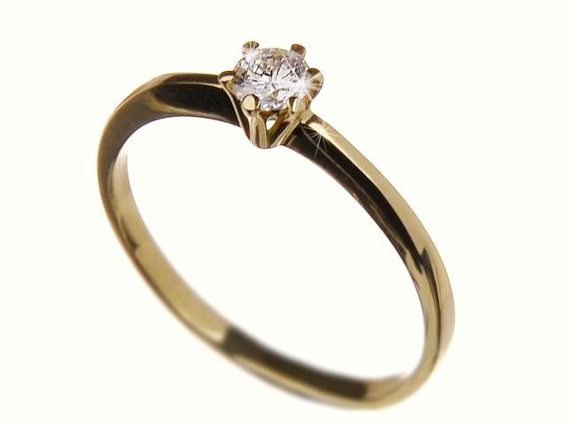 Zásnubní zlatý prsten s diamantem Briline 40903