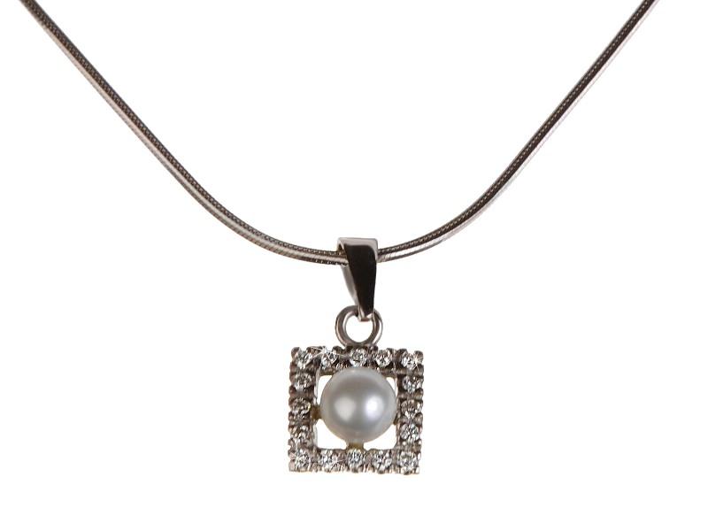 Přívěsek s brilianty a perlou 25407