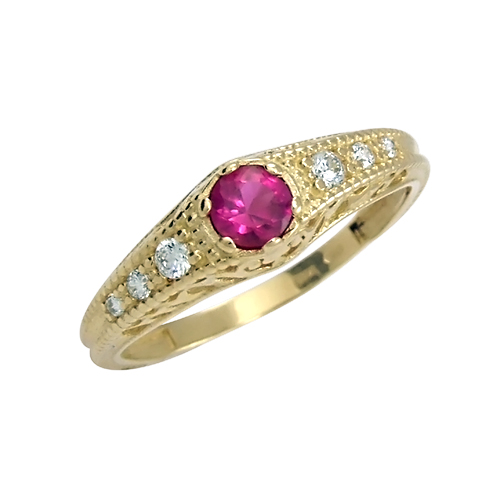 Prsten s diamanty a rubínem 140529r