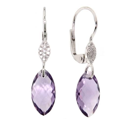 Náušnice s diamanty a ametystem Briline 388-0375