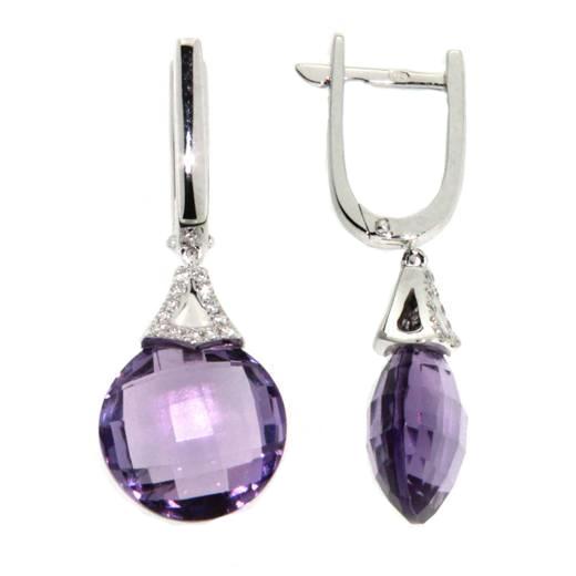 Náušnice s diamanty a ametystem Briline 388-0358.0.00.95