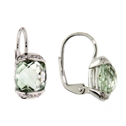 Náušnice s diamanty zelený ametyst Briline 388-0329.0.00.83