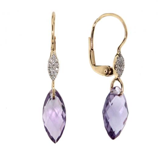 Náušnice s diamanty a ametystem Briline 383-0374.5.00.95