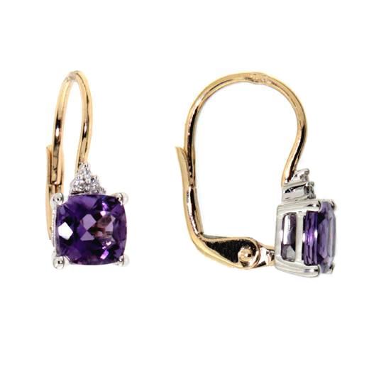 Náušnice s diamanty a ametystem Briline 383-0189.5.00.95