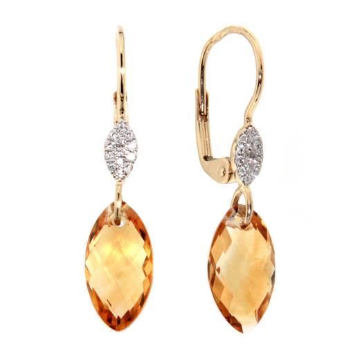 Náušnice s diamanty a citrínem 383-0368.5.00.80