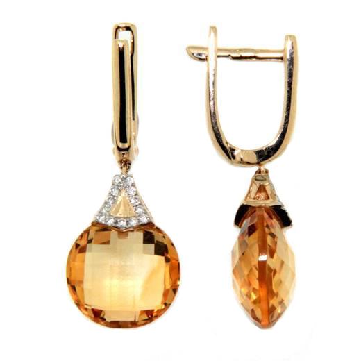 Náušnice s diamanty a citrín 383-0353.5.00.80