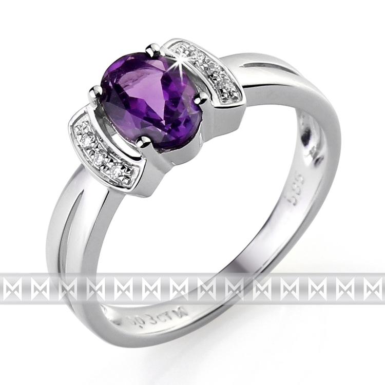 Prsten S Diamanty A Ametystem Briline 3860564 0 52 95 Zasnubni A