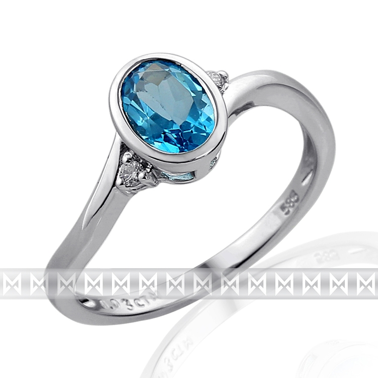 Prsten s diamanty a topazem 3862043-0-53-93