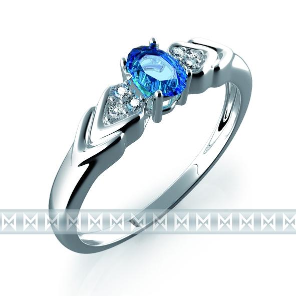 Prsten s diamanty a topazem 3860448