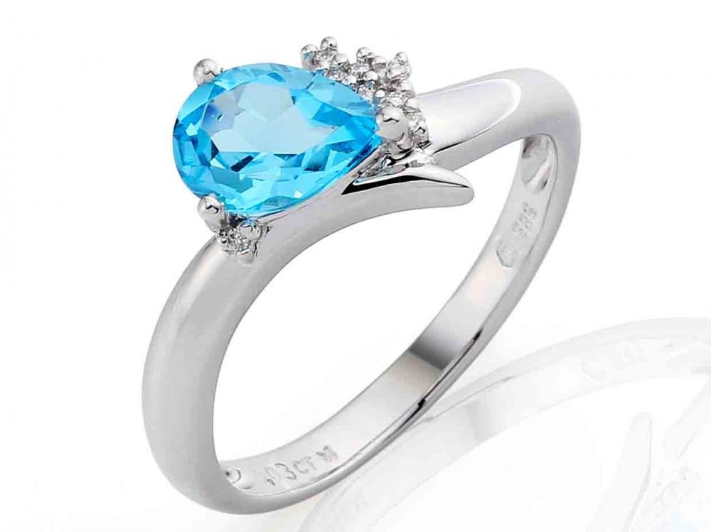 Prsten s diamanty a topazem 3860517-0-54-93