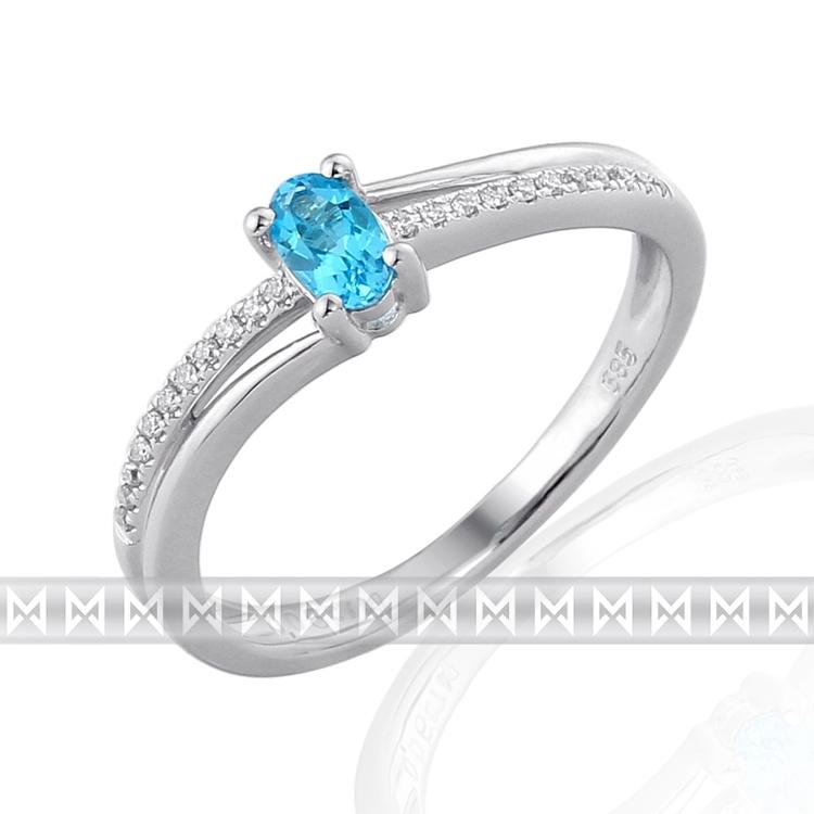 Prsten s diamanty a topazem 3861133-0-54-93