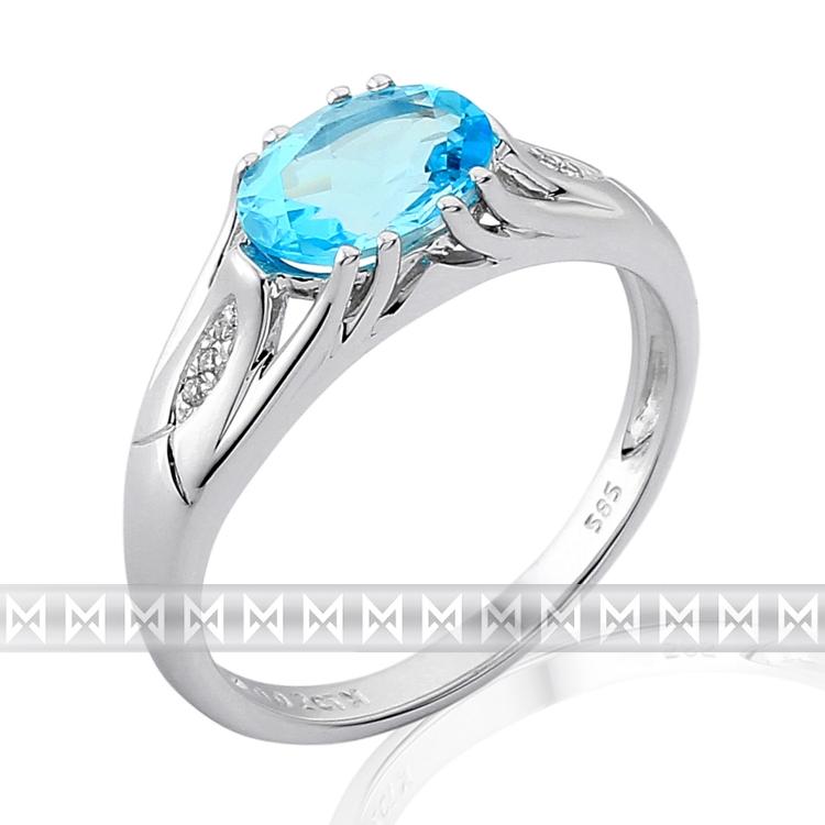 Prsten s diamanty a topazem 3861897-0-53-93