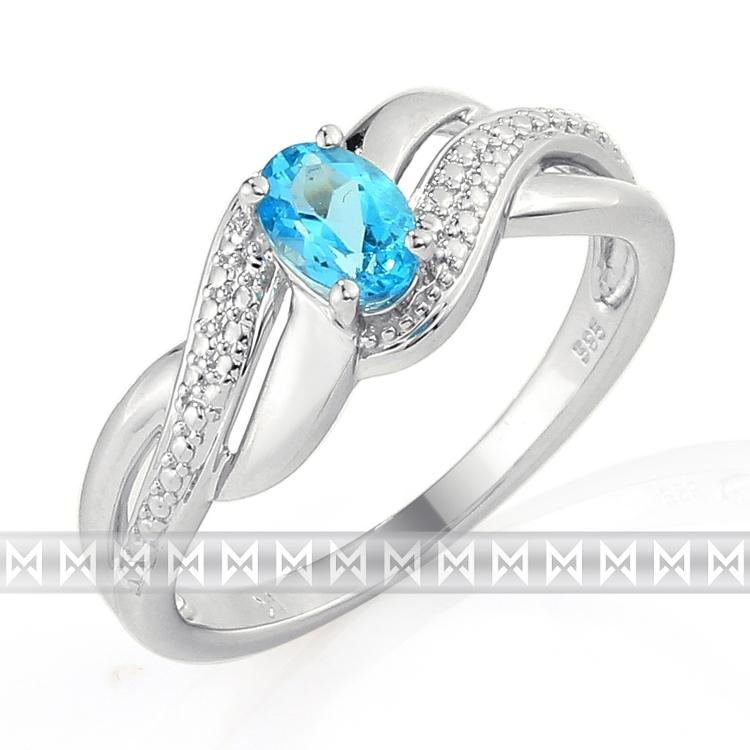 Prsten s diamanty a topazem 3861737-0-53-93