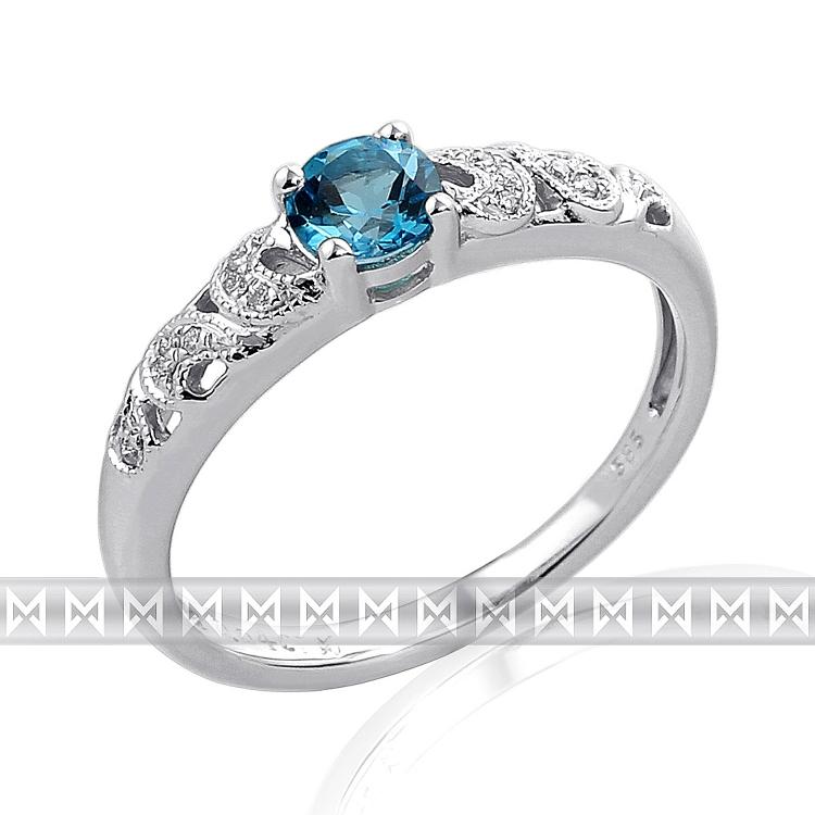 Prsten s diamanty a topazem Briline 3860311-0-55-93