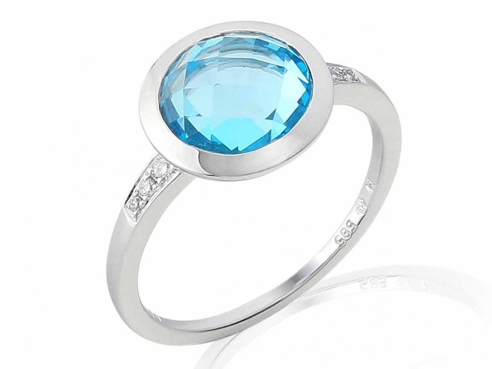 Prsten s diamanty a topazem Briline 3861881-0-54-93