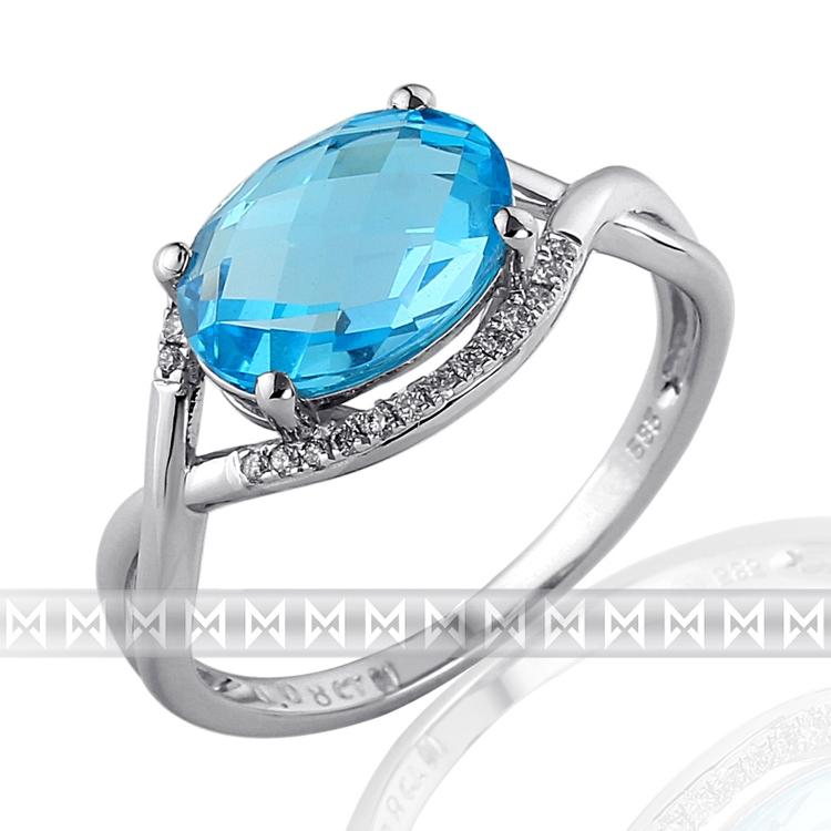 Prsten s diamanty a topazem 3862027-0-54-93