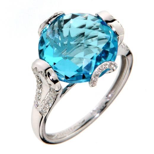 Prsten s diamanty a topazem 386-0987.0.56.93