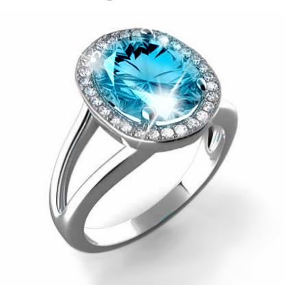 Prsten s diamanty a topazem Briline 386-0540-blue topaz