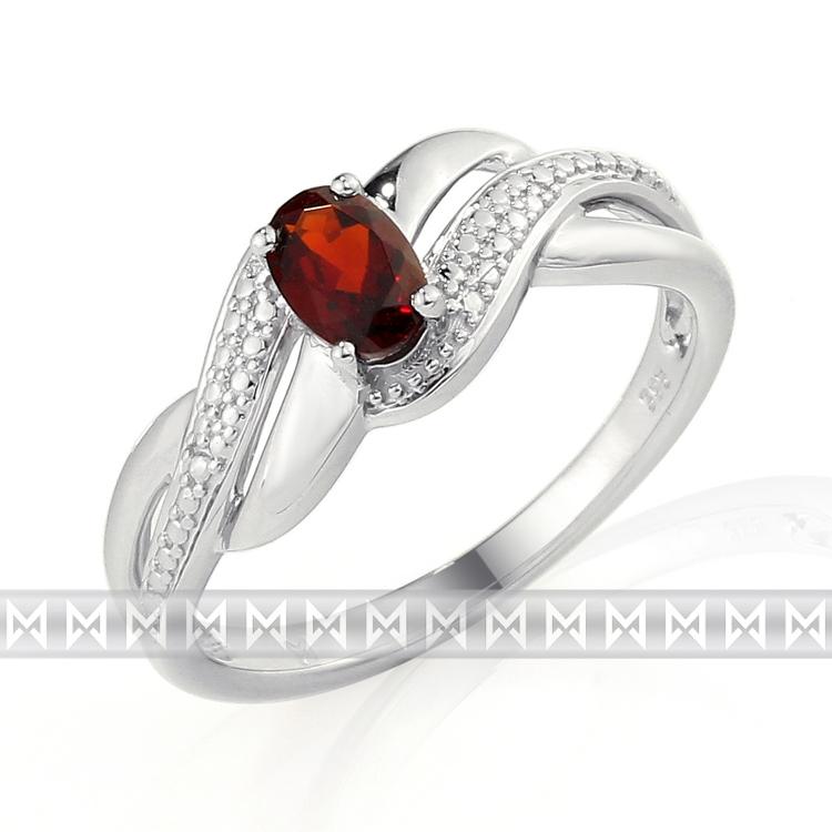 Prsten s diamanty a granátem 3861743-0-52-81