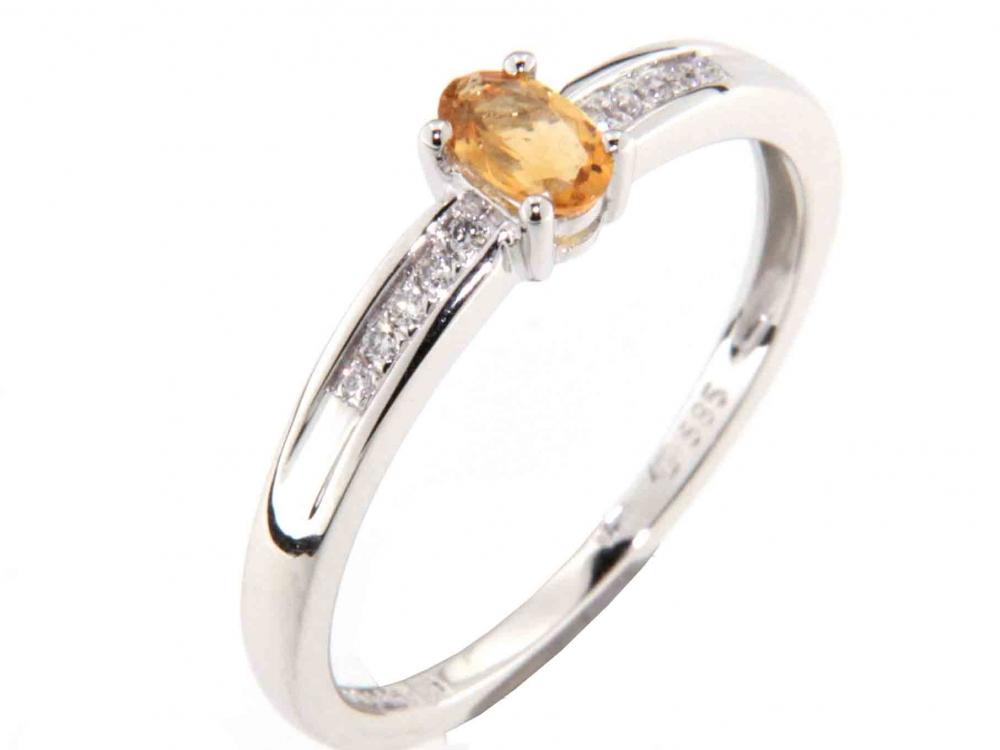 Prsten s diamanty a citrínem 3861171-0-54-80