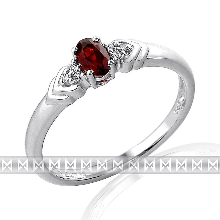 Prsten s diamanty a granátem Briline 3860457-0-54-81