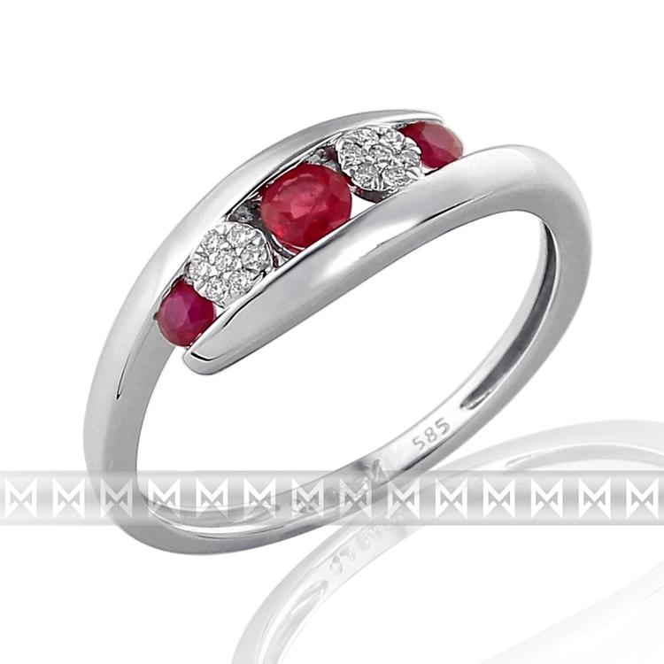 Prsten s diamanty a rubínem 3861968-0-53-94