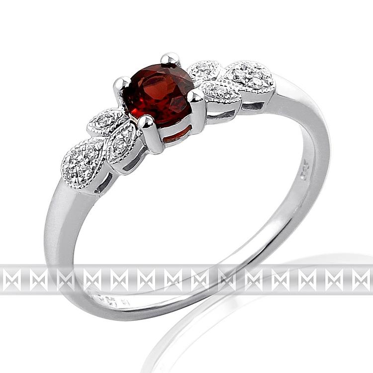 Prsten s diamanty a granátem Briline 3860300-0-55-81