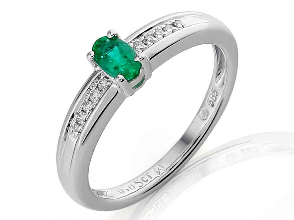 Prsten s diamanty a smaragdem 3861141-0-51-96