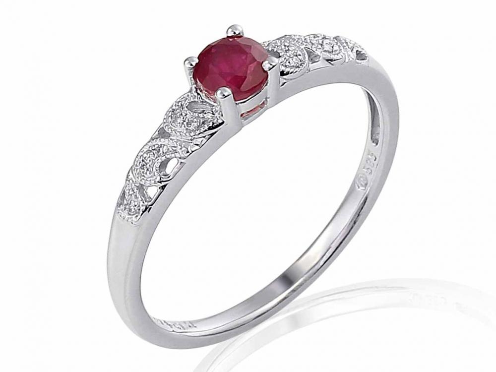 Prsten s diamanty a granátem Briline 3860331-0-50-81