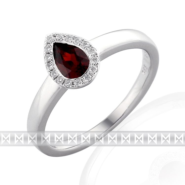 Prsten s diamanty a granátem Briline 3861709-0-53-81