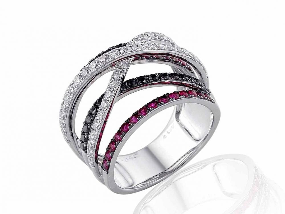 Prsten s černými a klasickými diamanty a rubíny Briline 3861497-0-56-94