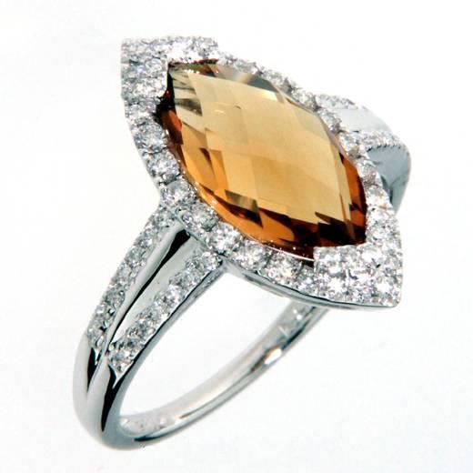 Prsten s diamanty a citrínem 386-1022.0.54.80