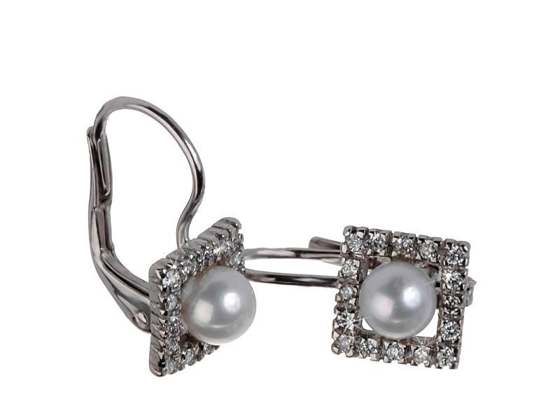 Luxusní briliantové náušnice s perlou Briline 9707