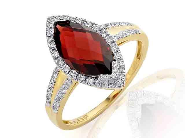 Diamantový prsten s granátem 3811028-5-59-81