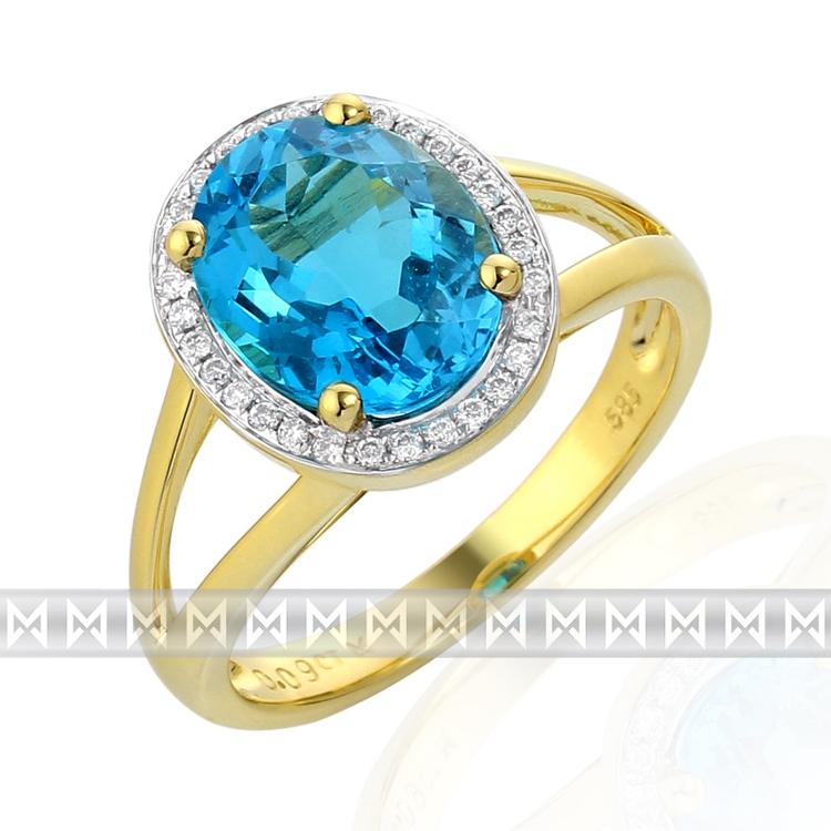 Diamantový prsten s modrým topazem Briline 3810539-5-52-93