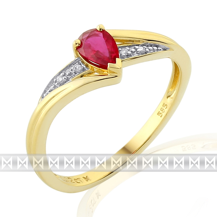 Diamantový prsten s rubínem 3811952-5-54-94