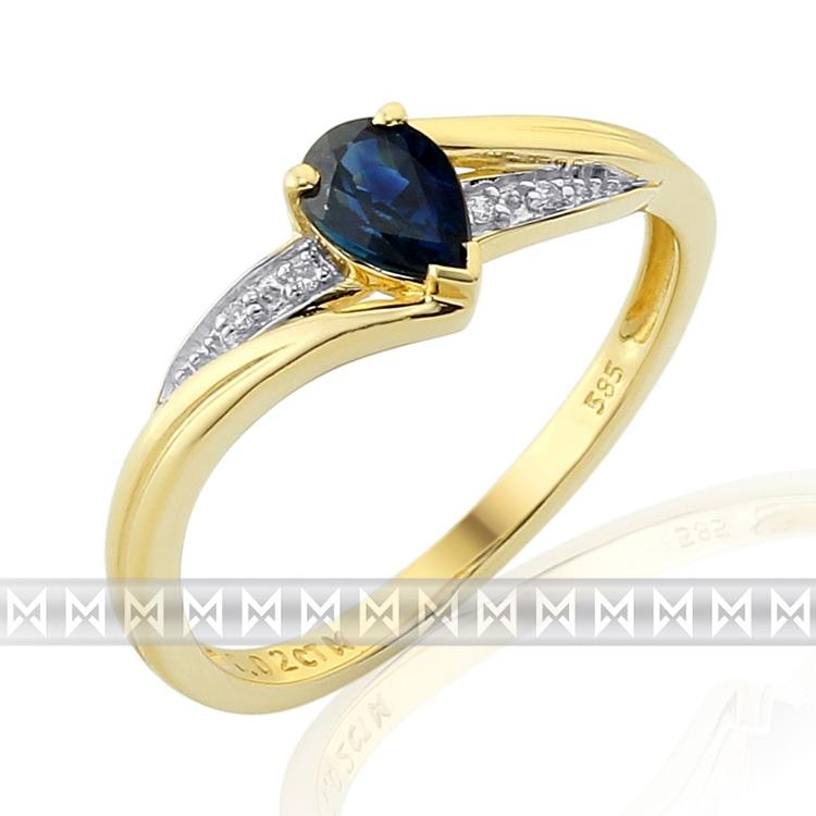 Diamantový prsten se safírem 3811949-5-54-92