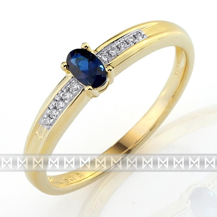 Diamantový prsten se safírem 3811143-5-60-92