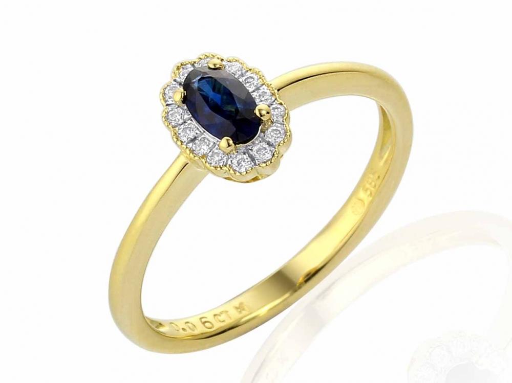 Diamantový prsten se safírem 3811083-5-52-92