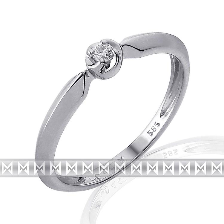 Zásnubní prsten s diamantem Briline, bílé zlato brilianty 3861819