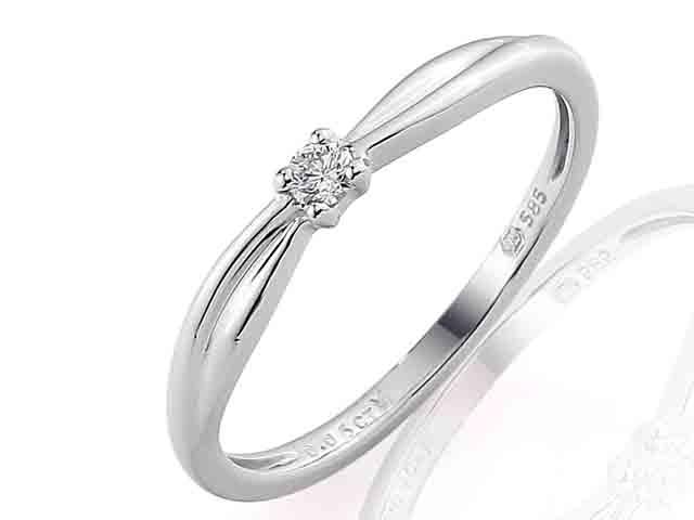 Zásnubní prsten s diamantem Briline, bílé zlato brilianty 3860713-0-48-99