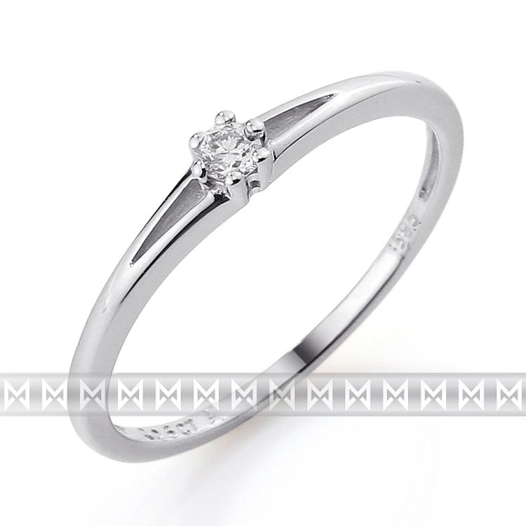 Zásnubní prsten s diamantem Briline, bílé zlato brilianty 3860065-0-51-99