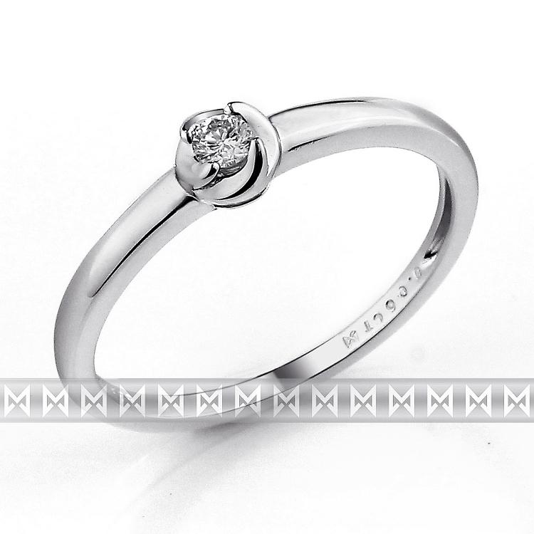 Zásnubní prsten s diamantem Briline, bílé zlato brilianty 3861319-0-53-99