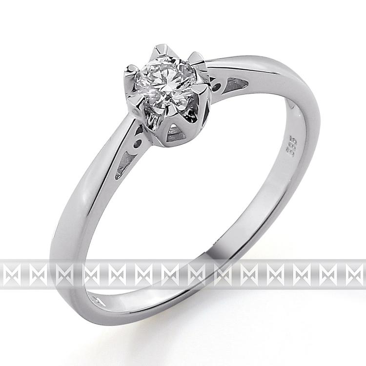 Zásnubní prsten s diamantem Briline, bílé zlato brilianty 3861683-0-52-99