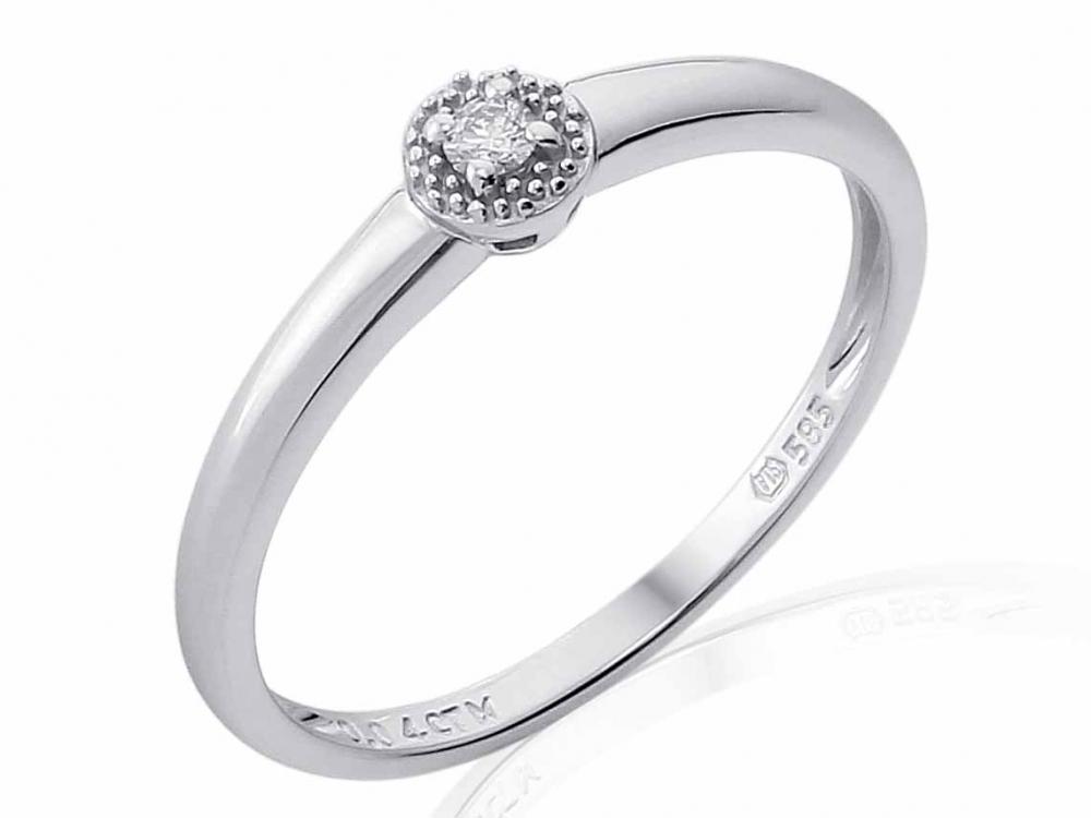 Zásnubní prsten s diamantem Briline, bílé zlato brilianty 3861824-0-50-99