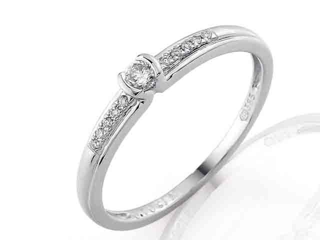 Zásnubní prsten s diamantem Briline, bílé zlato brilianty 3860829