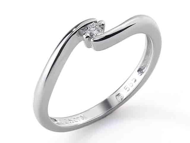 Zásnubní prsten s diamantem Briline, bílé zlato brilianty 3860726-0-50-99