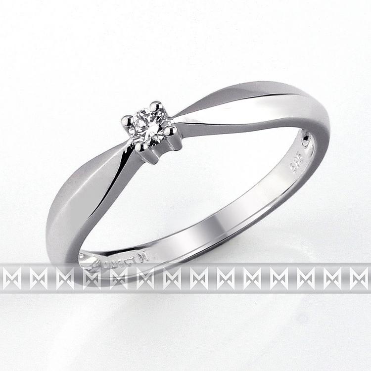 Zásnubní prsten s diamantem Briline, bílé zlato brilianty 3860007-0-52-99
