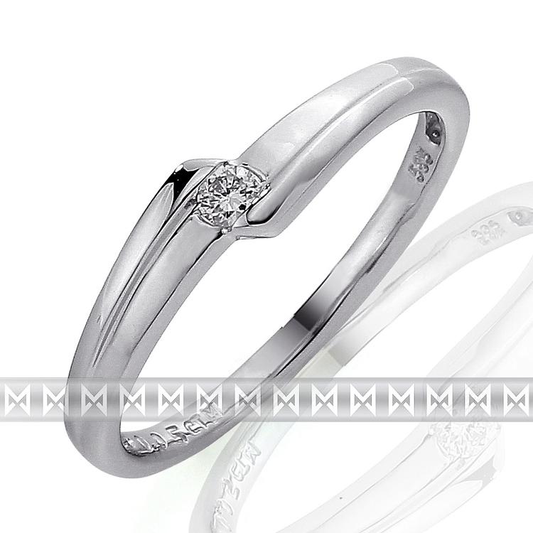 Zásnubní prsten s diamantem Briline, bílé zlato brilianty 3860697-0-51-99