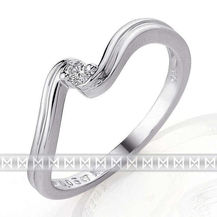 Zásnubní prsten s diamantem Briline, bílé zlato brilianty 3860089-0-51-99